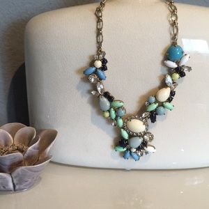 J.Crew Statement Necklace Blue & White w/ Crystals
